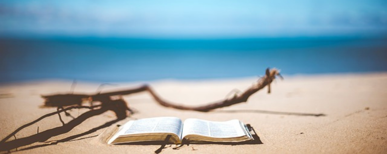image of a beach with a book lying open on the sand